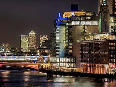 View of Canary Wharf, River Thames and Blackfriars Bridge, London, England, United Kingdom, Europe