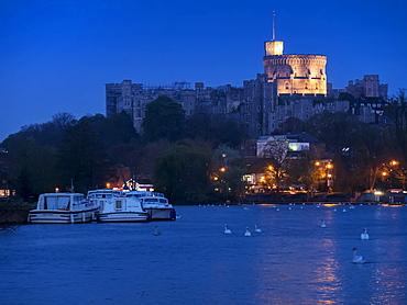 Windsor Castle at dusk, Windsor, Berkshire, England, United Kingdom, Europe
