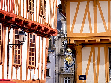 Medieval half timbered buildings in old city, Vannes, Brittany, France, Europe