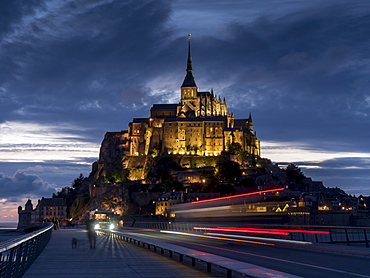 Mont St Michel, UNESCO World Heritage Site, holy island and peninsula at dusk, Normandy, France, Europe