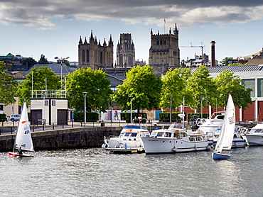 Harbour view, city centre with Cathedral and Univerity towers on skyline, Bristol, England, United Kingdom, Europe