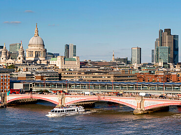 view of the city with Blackfriars Bridge and st paul's Cathedral