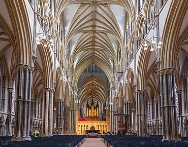 Lincoln Cathedral interior, Lincoln, Lincolnshire, England, United Kingdom, Europe