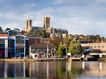 Lincoln Cathedral and Brayford pool, Lincoln, Lincolnshire, England, United Kingdom, Europe