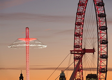 Millennium Wheel (London Eye) and Starflyer, South Bank, London, England, United Kingdom, Europe