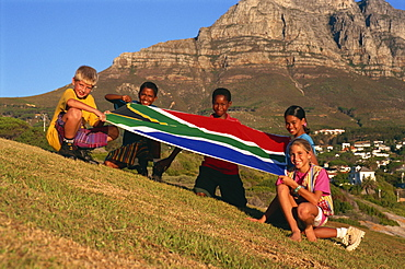 Children with national flag, South Africa, Africa