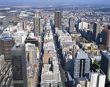 Aerial view over central Johannesburg, Transvaal, South Africa, Africa