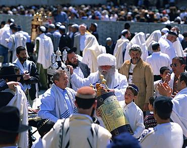 A Bar Mitzvah celebration near the Wailing Wall, Jerusalem, Israel, Middle East