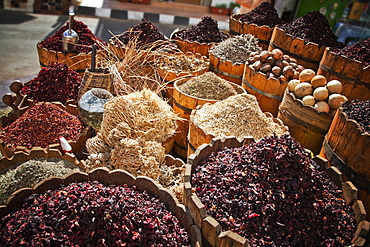 Display of spices and herbs in market, Sharm El Sheikh, Egypt, North Africa, Africa