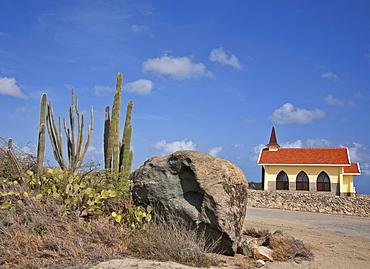Alto Vista Chapel showing towering Candle Cactus (Stenocereus Griseus) in foreground, Aruba, Dutch Caribbean, Central America