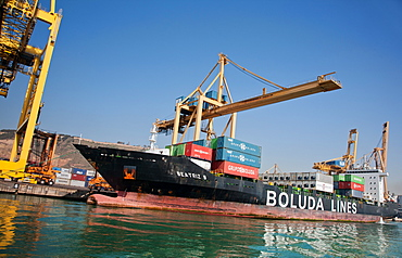 Container Port, Port of Barcelona, Barcelona, Catalonia, Spain, Europe