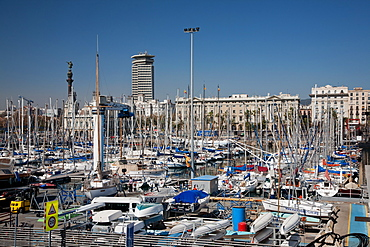 View of Port Vell showing Columbus monument, Barcelona, Catalonia, Spain, Europe