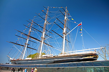 View of the Cutty Sark after restoration, Greenwich, London, England, United Kingdom, Europe