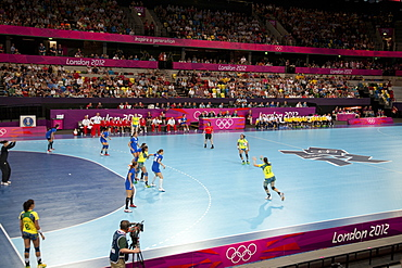 Handball game between Croatia and Brazil in the Copper Box at the Olympic Park, Stratford, London, England, United Kingdom, Europe