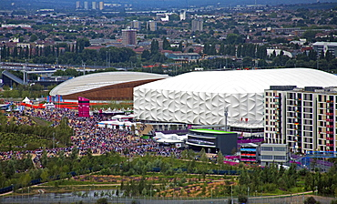 Aerial view of the Olympic Park from the Orbit showing the Velodrome (cycling arena) and Basketball Arena, Stratford, London, England, United Kingdom, Europe