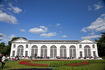 Orangery, with Olympic themed garden, Royal Botanic Gardens, UNESCO World Heritage Site, Kew, near Richmond, Surrey, England, United Kingdom, Europe