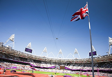 Wide-angle view of the Olympic Stadium in the Olympic Park, Stratford, London, England, United Kingdom, Europe