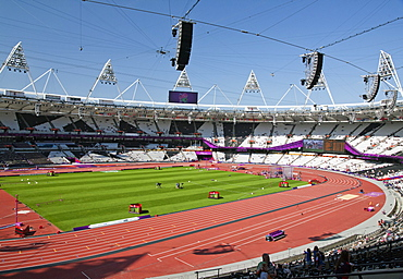Wide-angle view of the Olympic Stadium showing cable-suspended camera system, Stratford, London, England, United Kingdom, Europe
