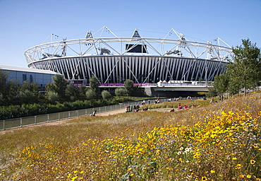 View of the Olympic Stadium at the Olympic Park, Stratford, London, England, United Kingdom, Europe