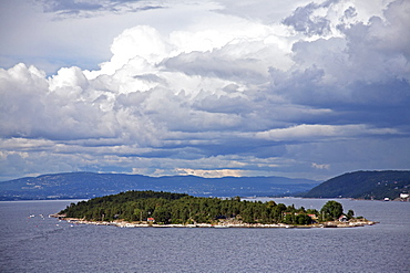 View of island off the coast near the Port of Oslo, Oslo, Norway, Scandinavia, Europe