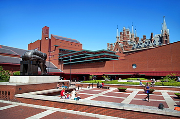 View of the British Library showing Eduardo Paolozzi's sculpture, Euston Road, London, England, United Kingdom, Europe