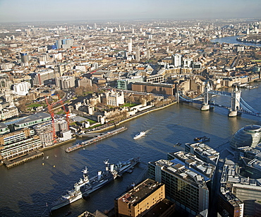 View from the Shard towards Tower Hill showing the River Thames, HMS Belfast, Tower Bridge and The Tower of London, London, England, United Kingdom, Europe