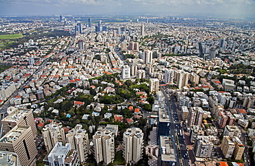 Aerial view of downtown Tel Aviv, Israel, Middle East