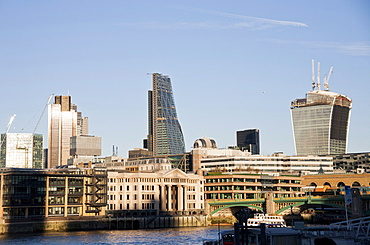 The skyline of the City of London showing Tower 42, the Leadenhall Building and 20 Fenchurch Street (The Walkie-Talkie), London, England, United Kingdom, Europe