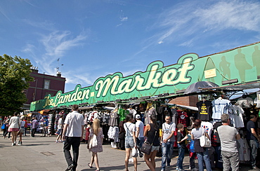 Tourists and shoppers at Camden Town Market, London, England, United Kingdom, Europe