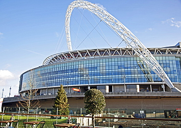 View of Wembley Stadium from the London Designer Outlet in Wembley Park, Brent, London, England, United Kingdom, Europe