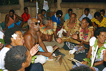 Villagers singing at cava evening, Waya island, Yasawa Group, Fiji, South Pacific islands, Pacific