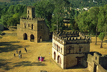 The Royal Enclosure, with wedding party, Gondar, Ethiopia, Africa