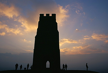 Silhouette of Glastonbury Tor, Somerset, England, U.K., Europe