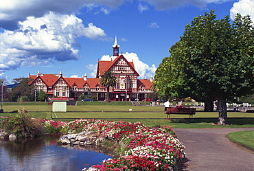Gardens in front of the Bath House Museum in Rotorua, North Island, New Zealand, Pacific