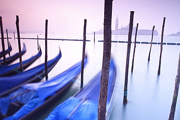 Gondolas moored by St. Marks Square, looking across to Isola di San Giorgio Maggiore in the early morning, Venice, UNESCO World Heritage Site, Veneto, Italy, Europe