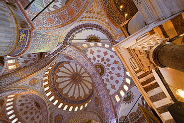 Interior of the Blue Mosque built by Sultan Ahmet I in 1609, designed by architect Mehmet Aga, Istanbul, Turkey, Europe