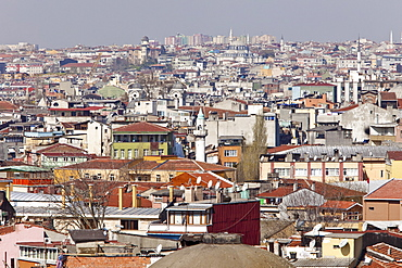 Cityscape of houses and mosques, looking north from harbour, Istanbul, Turkey, Europe
