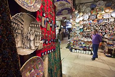 Shop seller in the underground Grand Bazaar, Istanbul, Turkey, Europe