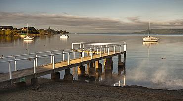 Jetty at 2 Mile Bay, Lake Taupo, North Island, New Zealand, Pacific
