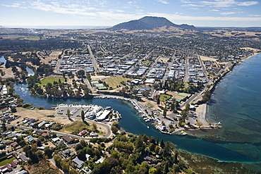 Aerial of Taupo Town and Mount Tauhara, Waikato River and Lake Taupo, North Island, New Zealand, Pacific