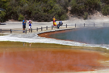 Tourists at the Champagne Pool, hot springs, Waiotapu Goethermal Wonderland, Rotorua, New Zealand, Oceania
