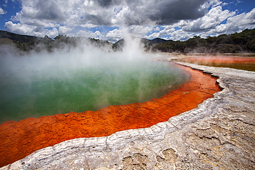 Champagne Pool, hot springs, Waiotapu Goethermal Wonderland, Rotorua, New Zealand, Oceania