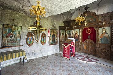 Chapel, Rock Monastery St. Dimitar Basarbovski dating from the 12th century, UNESCO World Heritage Site, Ivanavo, Bulgaria, Europe
