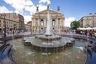 Fountain outside Old Town Opera House Svobody 28, Kiev, Ukraine, Europe