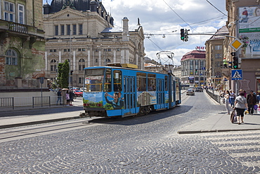 A tram car in the old historic part of city, UNESCO World Heritage Site, Lviv, Ukraine, Europe