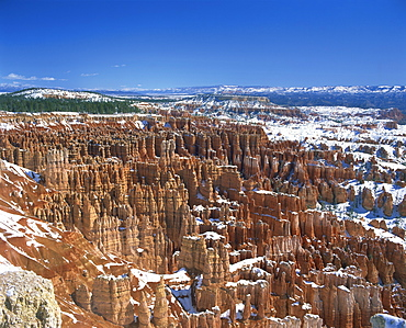 Pinnacles and rock formations known as The Silent City, seen from Inspiration Point, with snow on the ground, in the Bryce Canyon National Park, Utah, United States of America, North America