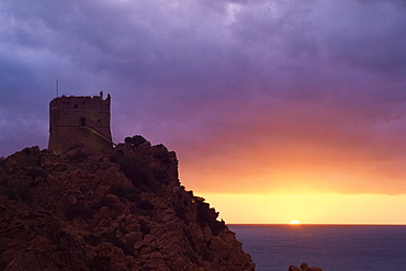 Genoese tower at sunset, Porto, Corsica, France, Mediterranean, Europe