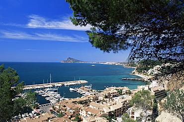 View southwards over marina, Altea, Alicante, Costa Blanca, Spain, Mediterranean, Europe