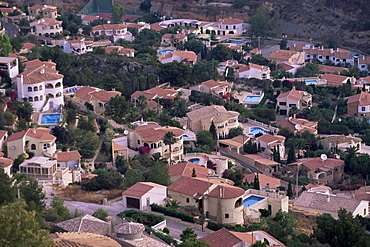 Elevated view of villa development on hillside, Calpe, Alicante area, Valencia, Spain, Europe