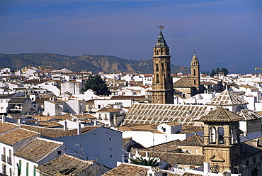 View of city from castle walls, with church of San Sebastian on skyline, Antequera, Malaga, Andalucia, Spain, europe